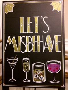 Having a Roaring Twenties themed or Great Gatsby wedding or event?! Want to add some glitz, glamour, and that chic extra touch to your evening party event?! Then you need a fun and creative Bar Quote Sign which means you really need this custom created sign!!! This Lets Misbehave sandwich board sign was completely designed with your occasion in mind. Spice up your wedding or party table décor using this fun Art Deco font inspired sign. This 8 x 10 self-standing sign has been painted all…