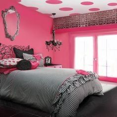 Paint daughters room in this hot pink with the polka dot ceiling and its adorable. We did all white furniture from Pottery Barn and mixed with some black and white polka dot pieces too, so cute!