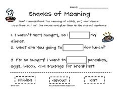 Shades of meaning for vocabulary....grades 1-3