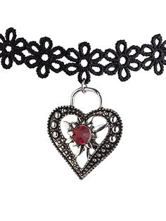 Flower, Heart and Edelweiss – Traditional Velvet Choker with Elastic Band for Dirndl and Leather Trousers -  Black - One size