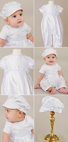 Perfect for Spring, our Francis Romper is simple with a darling blue braid and matching hat.
