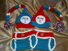 Crochet photo prop. Crochet baby beanie, Diaper cover. Thing 1 Thing 2