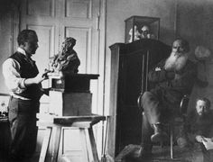 """"""" Sculptor Pavel Trubetskoy making a bust of Leo Tolstoy, 1899 . """" #sculpture #Tolstoy #posing"""