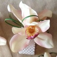 Pink Orchid Wrist Corsage . Cymbidium Orchids in Light Cream Pink, pearl rhinestone bracelet, grassids in Cream Wh