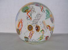 FINE Floating MILLEFIORI Latticino SIGNED Art Glass PAPERWEIGHT Complex TREASURE