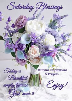 SATURDAY BLESSINGS: TODAY IS BEAUTIFUL SIMPLY BECAUSE GOD MADE IT. ENJOY !!!!