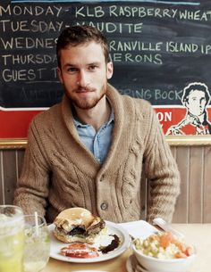 Tyler Goodling(and his illustrated royal twin) at BQM Burger Shoppe in Toronto, Ontario.