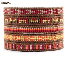 2014 new style red series mixed seed beads high quality leather wrap bracelet(China (Mainland))