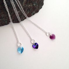Small heart pendants heart necklace Blue Heart Purple by Chalso Heart Pendant Necklace, Heart Pendants, Small Heart, Etsy Jewelry, Sterling Silver Necklaces, Diamond Cuts, Swarovski Crystals, Amethyst, Purple