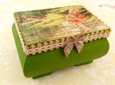 Elegant wood box with lovely fairy motif gift box by Schmucktruhe