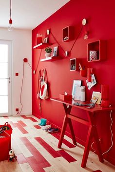 Beautiful red living room design ideas to consider 00017 ~ Home Decoration Inspiration Red Room Decor, Red Wall Decor, Red Interior Design, Red Design, Home Design, Matching Paint Colors, Living Room Red, Bedroom Red, Single Bedroom