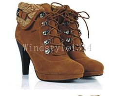 Womens Faux Suede Lace Up Ankle Boots High Heel Cuffed Fur Lined Warm Shoes Size