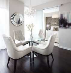 Contemporary Dining Room Small Area White Table