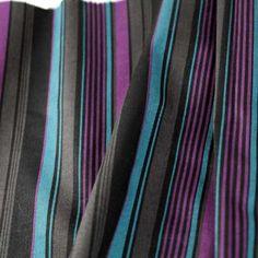 Striped Stretch Cotton Sateen - Purple/Teal/Black/Gray - Gorgeous FabricsGorgeous Fabrics