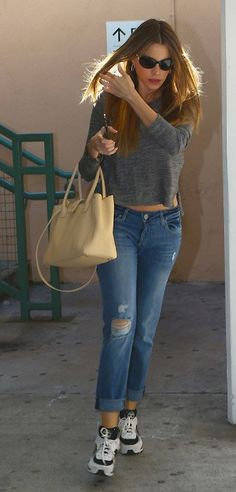 Sofia Vergara is wearing Riley boyfriend in Fury Sophia Vergara, High End Fashion, Celebrity Look, A Boutique, Fashion Brands, Boyfriend, Street Style, Denim, Chic