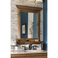 Images Of allen roth J VM Ballantyne Mocha Ebony Glazed Rectangular Bath Mirror