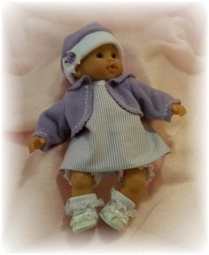 """4 pc lavender striped jumper outfit for Corolle 12"""" dolls like Tidoo and Calin Yang..."""
