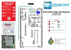 Evacuation Signs and Diagrams. Custom made for your facility on either ACM (aluminium panel), printed and framed, poly carbonate or laminated print (this image is intellectual property of 1st Choice Fire Safety and Training)