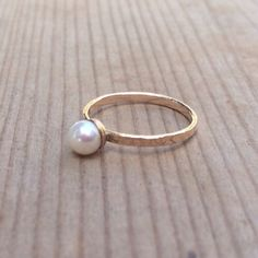 Pearl Ring, Gold Ring, Gemstones Ring, Stacking Rings, June Birthstone Ring, Turquoise Ring, Opal Rings, Statement Rings, Gift For Her door AnnalisJewelry op Etsy https://www.etsy.com/nl/listing/235418635/pearl-ring-gold-ring-gemstones-ring