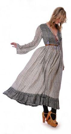 Plunge Silk Bohemian Dress | Damsel Vintage