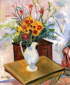 Yellow Daisies - Suzanne Valadon - 1926  Suzanne Valadon (1865-1938) was a French painter born Marie-Clémentine Valadon at Bessines-sur-Gartempe, Haute-Vienne, France. In 1894, Valadon became the first woman painter admitted to the...