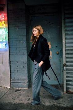 Oversized Pants and Black Coat   Street Style