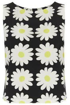 Sleeveless Daisy Print Shell Top