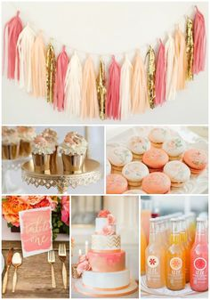 Coral and Peach Party and wedding Inspiration, Macaroons, cupcakes, wedding cake, and izzie [blushbazaar tassel garland]