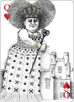 Alice in wonderland ,Queen of Hearts - card illustration