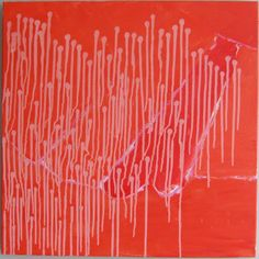 """""""Sprouts on Red"""" by Claire Desjardins - 24""""x24"""". Acrylics on canvas. 2010. Corporate collection."""