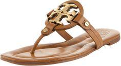 Tory Burch Miller Flat Thong Sandal, Tan/Bronze - Polyvore