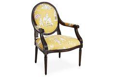 Dash Cotton Armchair, Yellow/Multi on OneKingsLane.com