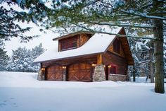 Carriage House - Lower Whitefish Lake - Winter - traditional - garage and shed - minneapolis - Lands End Development - Designers & Builders