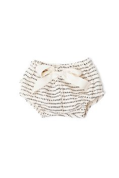 Our new bloomers are the cutest fall layering piece! The feature a slightly bubble fit and have comfy elastic in the waist and leg openings. With a generous feminine twill tape bow (tacked on— does no