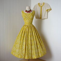 vintage 1950's dress ...summer time JERRY GILDEN golden yellow full skirt pin-up…