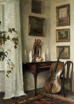pogledajte ovu ploču, baš je zanimljiva  Carl Vilhelm Holsøe Interior with Cello Late 19th - early 20th century - Pinterest