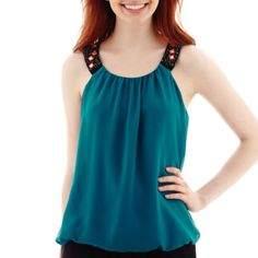 by&by Sleeveless Solid Chiffon Embellished Bubble-Hem Top  found at @JCPenney