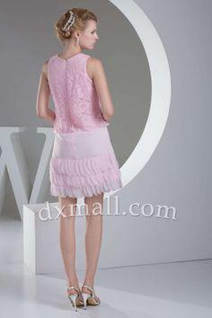 A-line Wedding Guest Dresses Scoop Short/Mini Lace Chiffon Pink 130010100106