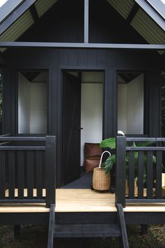 Black danish barn cubby house - here's a sneak peek at our kids cubby house (yet to be completed). Our travels through Scandinavia was the inspiration behind it. Kids Cubby Houses, Kids Cubbies, Timber Furniture, Modern Furniture, Kids Sand, Sand Pit, Black House, Joinery, Backyard Ideas