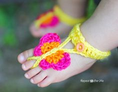 #Crochet butterfly barefoot sandals for baby free pattern from @repeatcrafterme