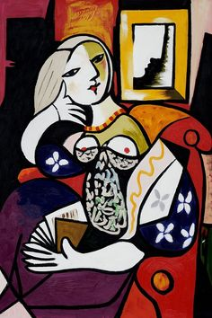 """Woman with Book"" by Pablo Picasso. I love the juxtaposition of shapes and colors."