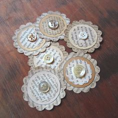 Items similar to Vintage Paper Ephemera Embellishments– Assorted Upcycled Book Pages & Buttons on Etsy – Scrapbooking Button Art, Button Crafts, Fabric Flowers, Paper Flowers, Book Page Crafts, Candy Cards, Button Flowers, Scrapbook Embellishments, Handmade Flowers