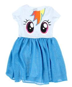 Does your little pony love Rainbow Dash?  Why not dress her up this Halloween as Rainbow Dash when you put her in this officially-licensed Rainbow Dash Toddler Blue Glitter Dress.   Be elegant, fancy, glittery, and 20% cooler when your little one goes out for Halloween dressed to impress.