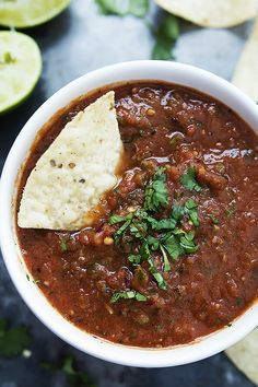 Fire Roasted Salsa - easy restaurant-style salsa you can whip up in the blender with zesty lime, and spicy roasted tomatoes!