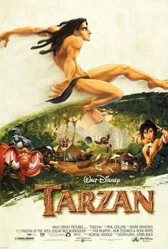 Tarzan (1999 film) - theatrical poster:  Tarzan's look was inspired by surfer culture
