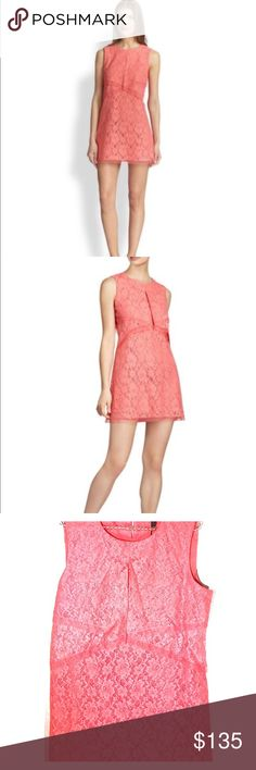 """NWT BCBGMaxAzria Pink Lace Dress Gorgeous pink BCBG draped Lace Dress. This has a round neck and is new with tags. No trades! Measures approximately 33.25"""" from shoulder to hem. BCBGMaxAzria Dresses"""