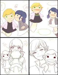 Marinette and Adrien would definetely be playing with puppets on one of their dates. Awww imagine if he helped Marinette babysit Manon