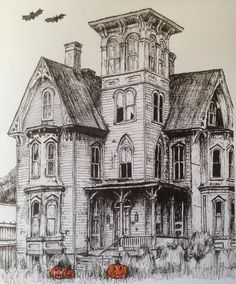 #art #drawing #pen #sketch #illustration #architecture #house #hauntedhouse #halloween