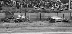 The remains of the Shadow DN8 of Tom Pryce sit in the catch fencing after he suffered his tragic fatal accident. Alongside is the Ligier JS7 of Jacques Laffite, who was an innocent and thankfully uninjured victim of the accident, South African Grand Prix, Kyalami, South Africa, March 5, 1977