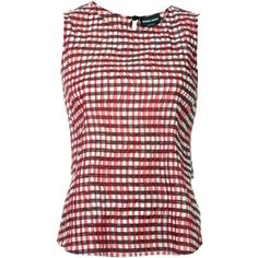 Giorgio Armani Pleated Gingham Top ($1,012) ❤ liked on Polyvore featuring tops, red, pleated top, multi color tops, colorful tops, giorgio armani and red top